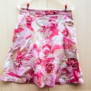 Pink and white knee length skirt